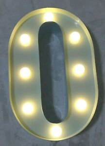 Barnyard Designs 9 Inch Lighted Number 0, Blue, Metal Rustic Number