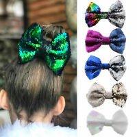 Cute Baby Rainbow Flipper Sequins Hairpin Girl Glittering Mermaid Bow Hair Clip