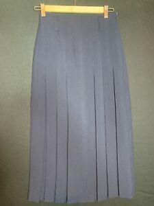 Vintage Mondi Ladies Navy Blue Wool Blend Pleated Skirt Size 6 (D4)