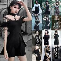 Women Dark Punk Gothic Skirt Dress Halloween Vintage Black Cosplay Casual Dress