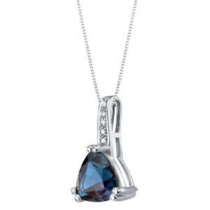 "2.25 ct Trillion Cut Created Alexandrite Diamond Pendant in 14k White Gold, 18"""