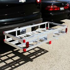 "Aluminum Cargo Carrier Luggage Rack Bumper 2"" Receiver Hitch Ball Mount RV Truck"