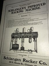 Schlagen  Racking  Equipment Beer Ad 1907 Brewery Chicago