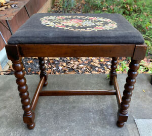 Antique Vintage Wood Ball Turned Piano Bench Stool Floral Needlepoint Cushion