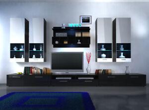 "Wall Unit High Gloss LED Lighting "" Colour Choice "" Design New"
