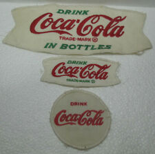 (LOT OF 3) VINTAGE COCA~COLA CLOTH PATCHES (white) -  2 FISHTAILS 1 ROUND