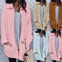Women Long Sleeve Knitted Fluffy Coat Cardigan Sweater Casual Outwear Jacket 998