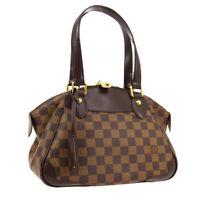 LOUIS VUITTON VERONA PM HAND BAG SD0182 PURSE DAMIER EBENE N41117 AUTH 01810
