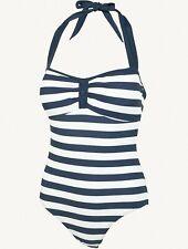 Neues AngebotFat Face-Damen-Classic Stripe Badeanzug-blau/weiß-Größe 14-Bnwt