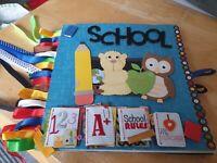 SALE.OOAK 8x8HANDMADE SCHOOL PAPERBAG ALBUM SCRAPBOOKING,EMBELLISHMENTS STICKERS