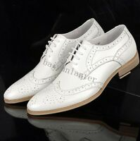 New Mens Real Leather Pointy Toe Wedding Shoes Brogue Carved Formal Casual Shoes