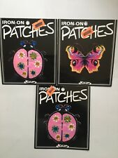 Lot Vintage Iron on Embroidered Patches Butterfly LadyBugs (New)