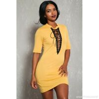 NEW Yellow Cleavage Caged Front Lace Up Mid Sleeve Casual Dress (Choose Size)