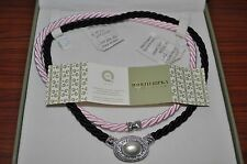 JUDITH RIPKA Sterling Silver Pearl CZ Magnetic Enhancer Pendant Pink Black Cord