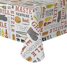 Barbecue Sizzle Vinyl Tablecloth 60 x 84 Oblong Wipe Clean BBQ Tools Design A