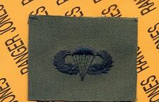 US Army Airborne Parachutist wing badge OD Green & Black cloth patch