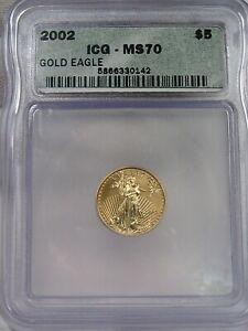 BU 2002 Gold $5 American Eagle 1/10th troy oz ICG MS70.  #5