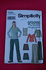 UNCUT Simplicity Grooves 9888 Junior boot pants, mini skirt SZ 3/4-9/10 pattern