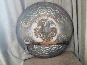 """Collage Shield and Axe """"Odin on Sleipnir"""" Author's Art, handmade from Russia"""
