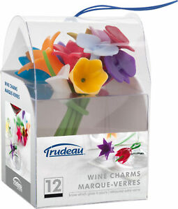 Trudeau Maison Silicone Flower-Shaped Wine Charms-Assorted Colors