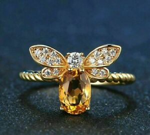 14K YELLOW GOLD FILLED ENGAGEMENT HONEY BEE UNIQUE TWISTED RING 2.25 CT DIAMOND
