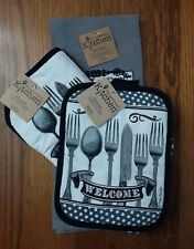 KayDee Pela Happiness + Spoonful of Life Pot Holder Mitt Kitchen Towel 3 pc. Set
