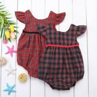2x Baby Girl Xmas Festive Tartan Plaid Bubble Romper Bodysuit Outfit 3 6 9 12 18