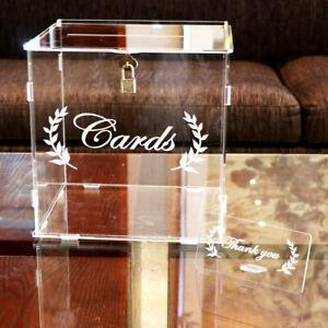 Acrylic Wedding Card Box Clear Card Box with Lock and Card Sign Gift Money Box