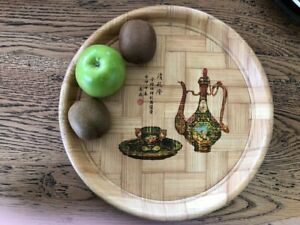 Vintage 1970s Round Bamboo Tray Plate Asian theme Global Eclectic decor