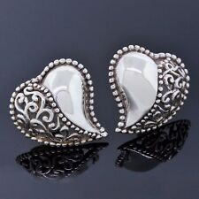 F Designer Jewelry 925 Sterling Silver Filigree Heart Puffy Stud Earrings