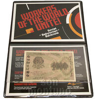 WORKERS OF THE WORLD UNITE - Soviet Babylonian Banknote in Folder + Certificate