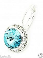 SWAROVSKI® ELEMENTS-10MM -LT. TURQUOISE- SILVER PLATED LEVERBACK EARRINGS