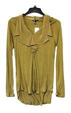 MNG By Mango Women Fashion Size Medium Olive Green High Low Long Sleeve Shirt