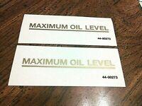 "MAXIMUM OIL LEVEL 3 X 3/8"" gold transfer sticker AJS Matchless Ariel BSA pair"