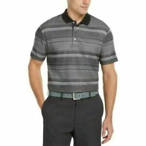PGA TOUR Men's Short-Sleeve Golf Polo Shirt, Caviar Gray Stripe, Small S