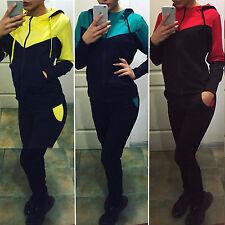 Damen Langarm-Kapuzenpullover + Hose Sport Jogging Loungewear Trainingsanzug