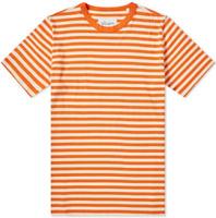 Men/'s tank top by fourcast size L orange//white//navy blue stripe brand new