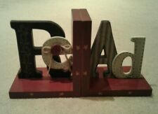 Shabby Chic 'Re-Ad' Bookends Burgundy with Multi Colour Crafted Letters