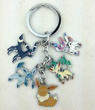Pokemon Metal Keychain Eevee Sylveon Leafeon Umbreon Glaceon Key Chain Keyring