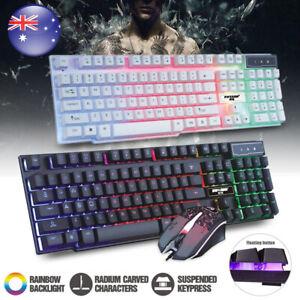 LED Rainbow Backlight Keyboard Plus Mouse Wired Illuminated Ergonomic PC Gaming