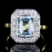 AQUAMARINE DIAMOND RING 18CT GOLD 3CT AQUA 0.90CT DIAMOND