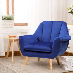 Small Single Seat Sofa Velvet Fabric Tub WingBack Chair Fireside Lounge Armchair
