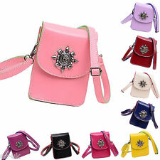 Womens / Girls Skull Leather Mini Crossbody Bag / Phone Pouch