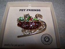 Pet Friends Jewelry Cat In Santa's Sleigh Pin Brooch  New in Box