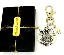 Personalised Any Initial St Christopher & Guardian Angel swivel keyring Gift Box