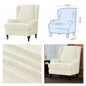 New, Spandex Elastic 2 Piece Cover Wing Chair, Protector Stretch Sofa (Ivory)