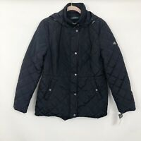 NWT Lauren Ralph Lauren Womens Quilted Hooded Jacket Navy Blue Size L Large