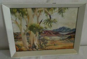 Mid-Century Vintage Albert Namatjira Print Framed Glen Helen Landscape 23X17cm