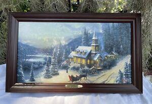 "Thomas Kinkade ""Sunday Evening Sleigh Ride"" Illuminated Canvas Print  #A1025"