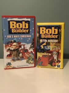Lot Of 2 BOB THE BUILDER 2001 VHS Tapes - BOB'S WHITE CHRISTMAS & TO THE RESCUE
